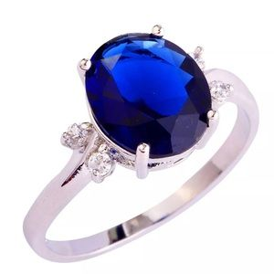Jewelry - 925 Blue Sapphire & White Topaz Engagement Ring
